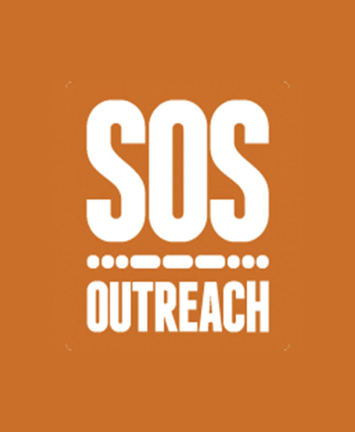 SOS Outreach logo, placeholder for headshots