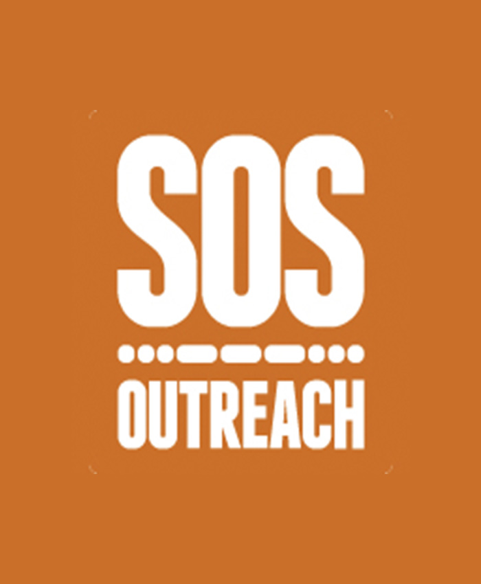 SOS Outreach logo, placeholder for headshots
