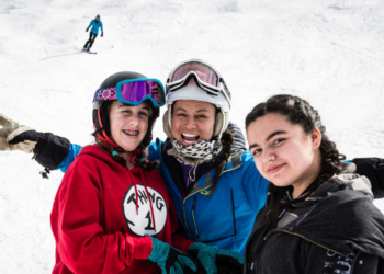 Youth on the ski mountain during an SOS Outreach event